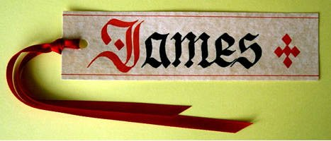 "Our standard bookmark ""James"" £2.00"